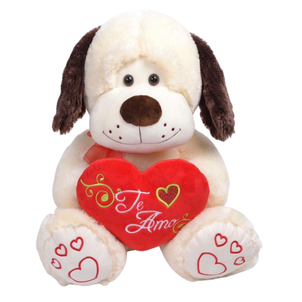 Perro Grande Sentado con Corazón Bordado TE AMO