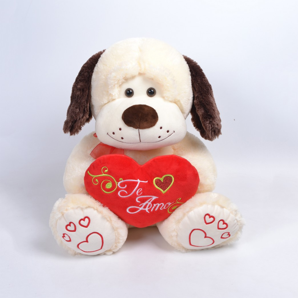 Perro Con Corazón Sentado Bordado TE AMO