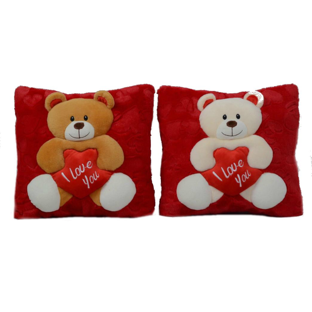 Almohada Con oso y Bordado I LOVE YOU 40 cm