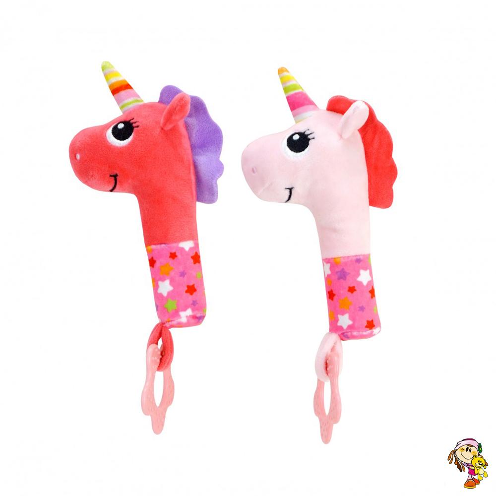 Sonajero bastón unicornio de peluche con mordillo