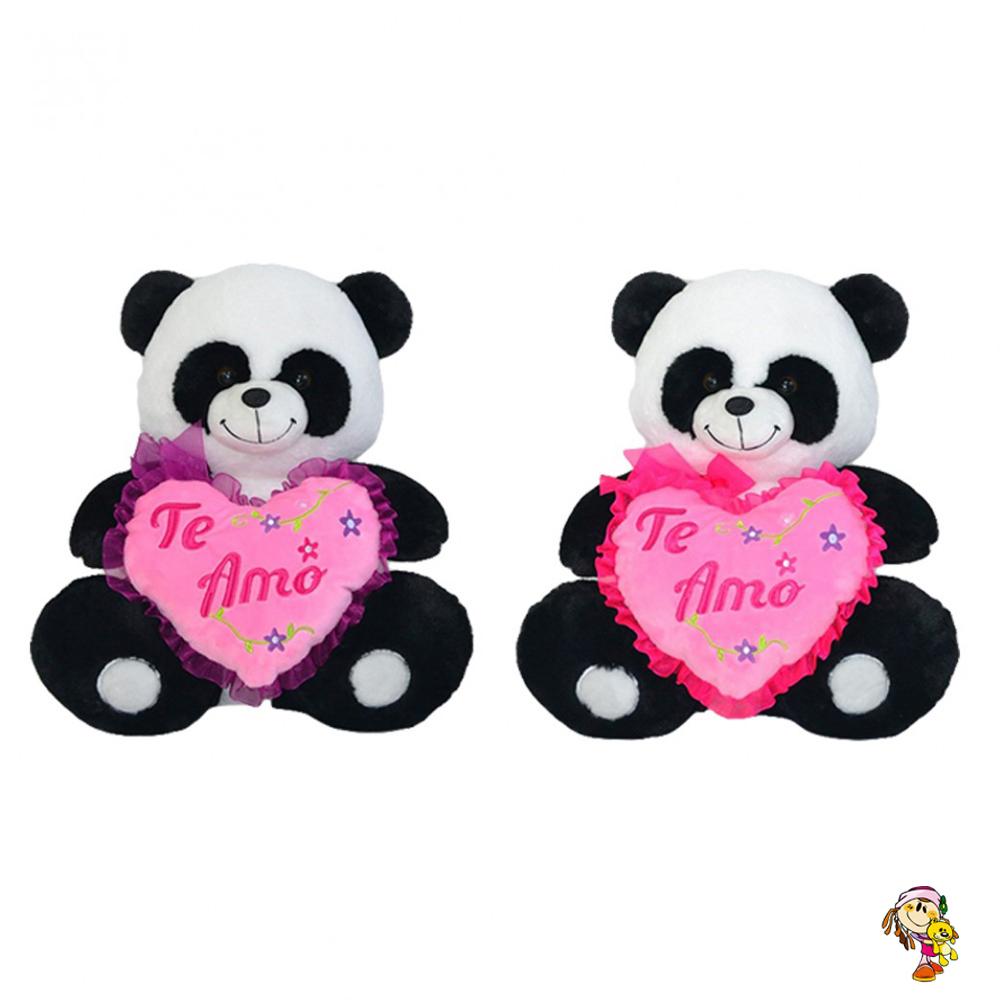 Panda de peluche con corazon 35 cm sentado