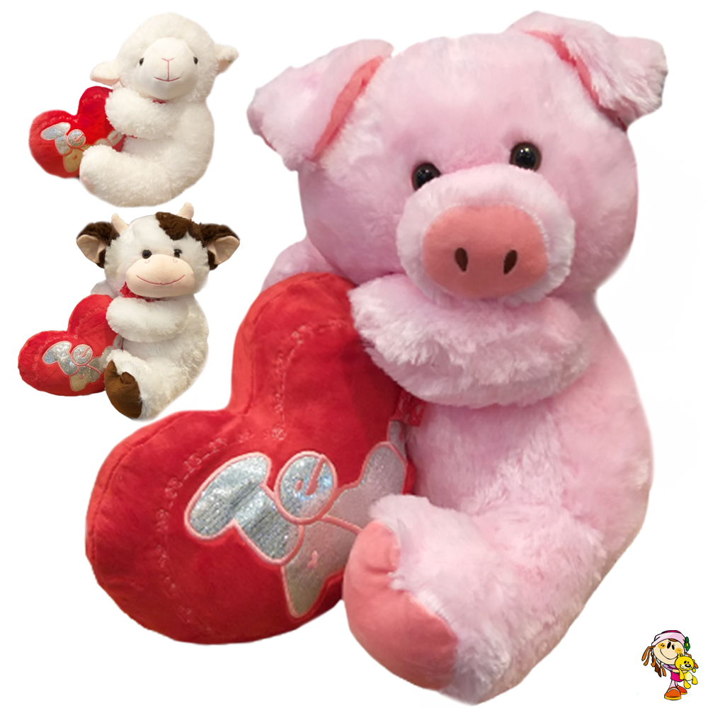 Animales grandes de peluche con corazón 38 cm sentado