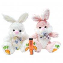 Conejo de peluche 2 colores (  blanco y rosa )