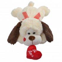 Perro de Peluche acostado con corazón 40 cm lago