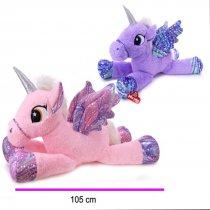 Peluche unicornio gigante dos colores 105 cm de largo