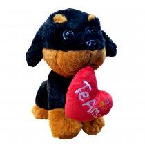 Perro de peluche con corazon Rottweiler