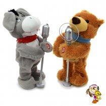 Oso y burro musical con microfono