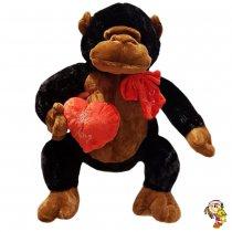 Gorila de peluche con corazón grande 48 cm sentado
