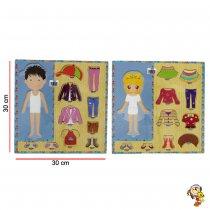 Puzzle de encastre ropa nene y nena 30CM x 30CM