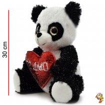 Panda de peluche con corazon de lentejuelas 30CM