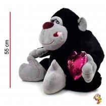 Gorila de peluche con corazón de lentejuelas 55CM