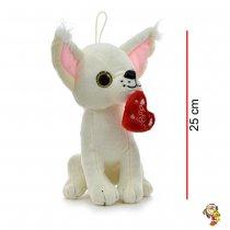 Perro Chihuahua de peluche con corazón 25 cm dos colores
