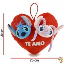 Corazón de peluche con aplique Stitch y Angel 20CM x 25CM