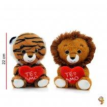 Tigre y León de Peluche con corazón 22 cm