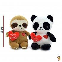 Perezoso y Panda super soft con corazón 25CM