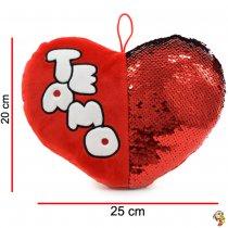 Corazón de peluche con lentejuelas mágicas 20cm x 25cm