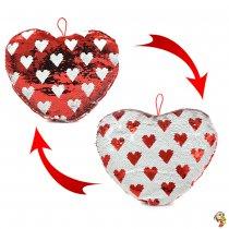 Corazón de peluche con lentejuelas mágicas 30 X 35 cm