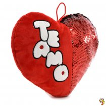 Corazón de peluche con lentejuelas mágicas 37cm x 45cm