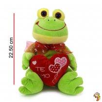 Rana de peluche con corazon 22.5 cm sentado