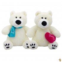 Oso polar de peluche con corazón 28 cm sentado