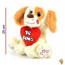 Perro de peluche con corazón 25 cm
