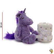 Unicornio de peluche 30 cm con manta de plush
