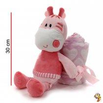 Animales de peluche rosa y celeste 30 cm con manta de polar