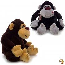 Gorila de peluche dos colores sentado con moño 55 Cm