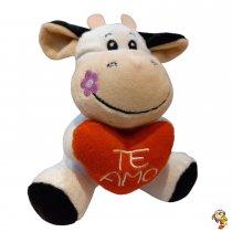 Vaca de peluche divina con corazón 15 Cm