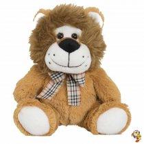 León de peluche con moño escoces y sonrisa 21 Cm sentado
